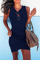 Round Neck Irregular Cross Bodycon Dresses