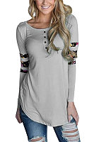 Round Neck  Decorative Buttons  Patchwork T-Shirts