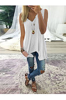 Casual V-Neck Sleeveless Irregular Hem Vest