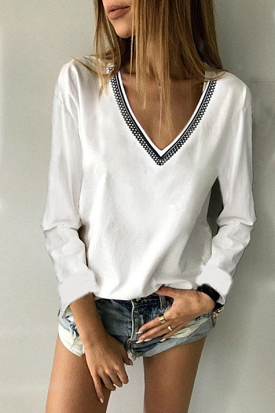 V Neck  Loose Fitting  Plain Printed T-Shirts