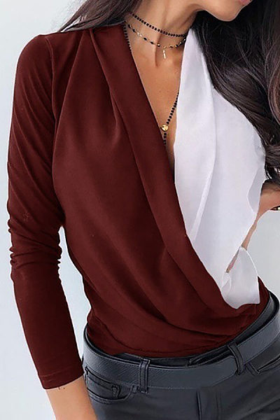 V Neck Colouring Casual Blouse