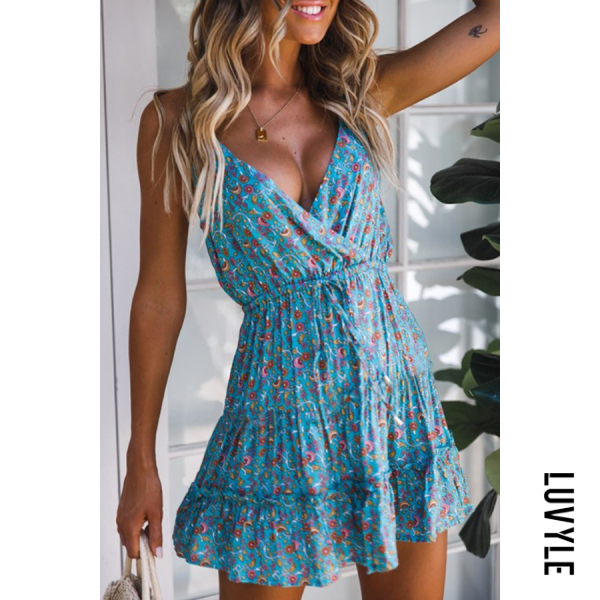 Blue Spaghetti Strap Loose Fitting Printed Sleeveless Skater Dresses Blue Spaghetti Strap Loose Fitting Printed Sleeveless Skater Dresses