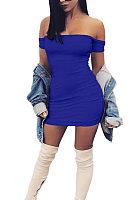 Off Shoulder  Backless  Plain Bodycon Dresses