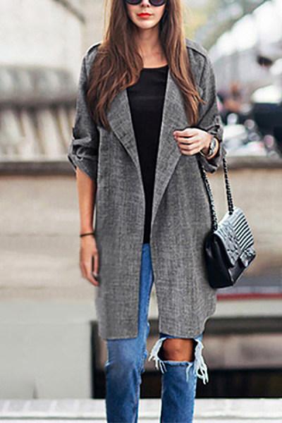 Women's Plus Size Fashion Turndown Collar Long Sleeve Grey Coat