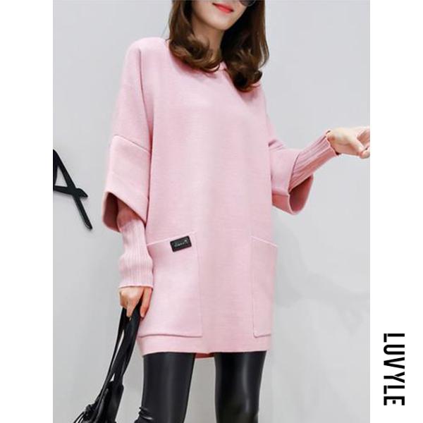 Pink Plain Patch Pocket Fake Two-Piece Shift Dress Pink Plain Patch Pocket Fake Two-Piece Shift Dress