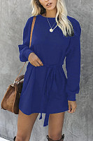 Round Neck Long Sleeve Plain Casual Dress