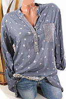 Star Print Sequin Pocket Can Pull Long Sleeve Blouse