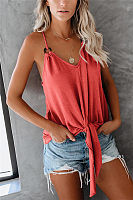 Casual Pure Color Spaghetti Strap Vest