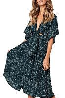 Deep V Neck  Dot  Half Sleeve Maxi Dresses