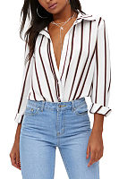 Turn Down Collar  Striped  Blouses