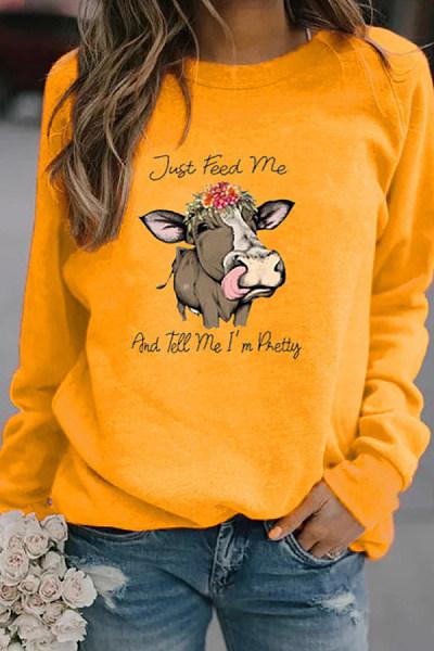 Cow casual printed loose sweatshirt