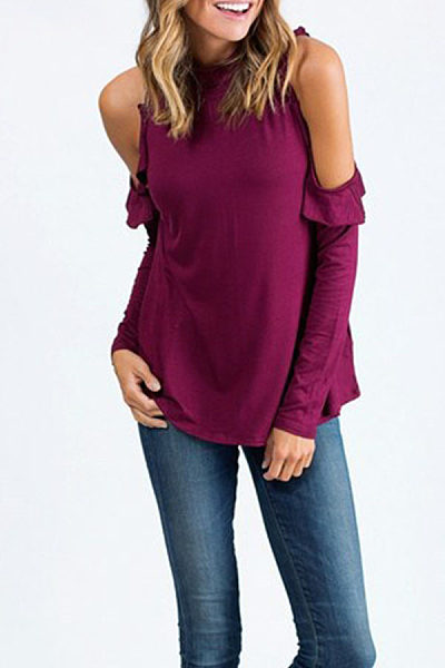 Round Neck  Flounce Single Button  Plain T-Shirts
