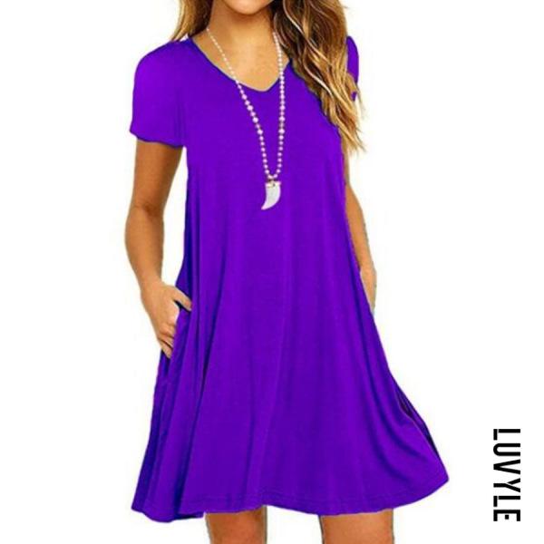 Purple V Neck Plain Shift Dress Purple V Neck Plain Shift Dress