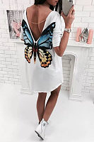 Round Neck  Asymmetric Hem Backless  Printed  Half Sleeve Casual Dresses