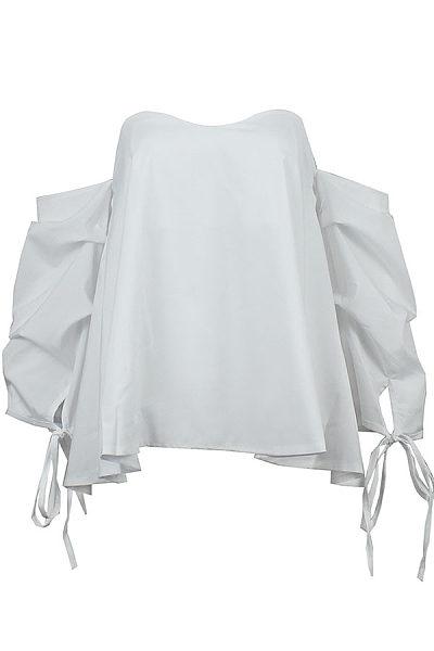 Strapless  Bowknot Zipper  Plain  Bishop Sleeve Shirts