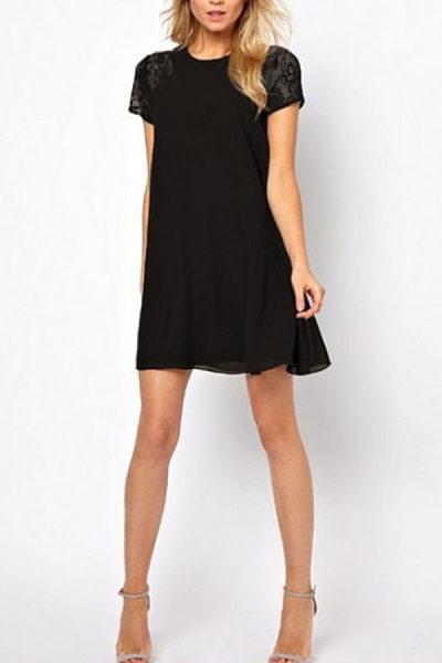 Round Neck  Lace Plain  Short Sleeve Casual Dresses
