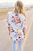 Round Neck Batwing Sleeve Floral Short Sleeve T-shirts