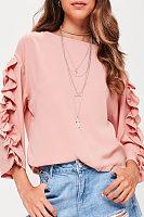 Round Neck  Ruffle Trim  Patchwork Plain Sweatshirts