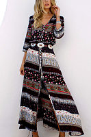 V Neck Single Breasted Tribal Printed Maxi Dresses