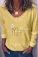 Floral V Neck Long Sleeve T-shirt