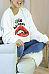 Round Neck  Exposed Navel  Letters Lips Printed  Sweatshirts