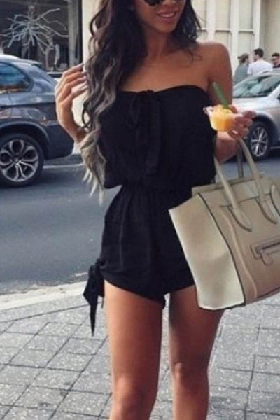 Strapless  Plain  Sleeveless  Playsuits