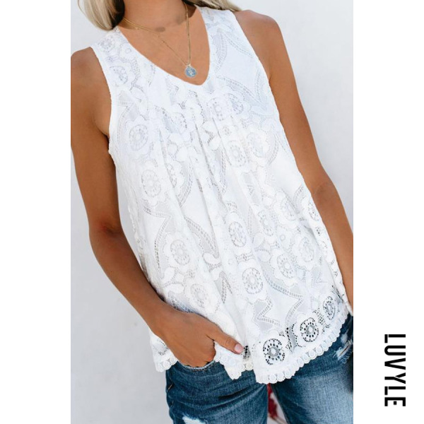 V-Neck Stitching Solid Color Lace Vest