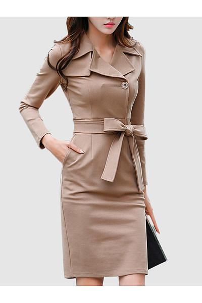 Fold-Over Collar  Single Breasted  Belt  Plain  Blend Bodycon Dress