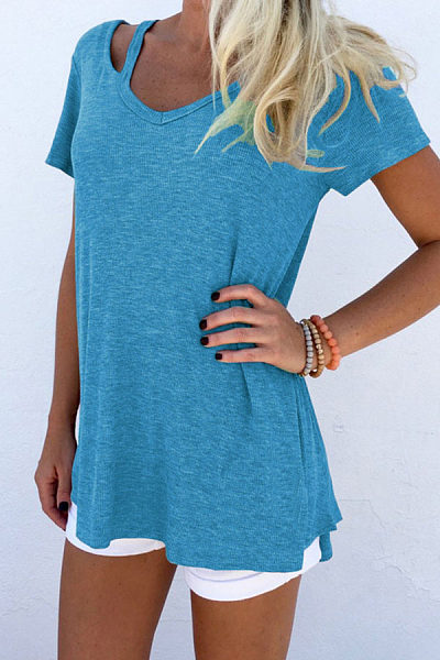 V Neck  Cutout  Plain T-Shirts