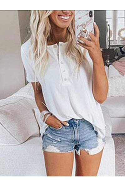 Summer Fashion Solid Color Loose Short-Sleeved Top