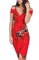 Spaghetti Strap  Asymmetric Hem  Floral Printed  Short Sleeve Bodycon Dresses