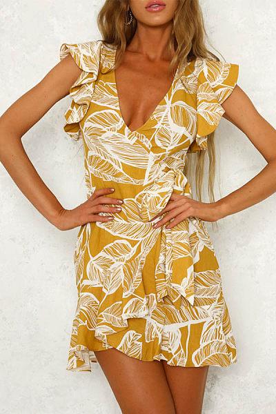 V Neck  Printed  Extra Short Sleeve Bodycon Dresses