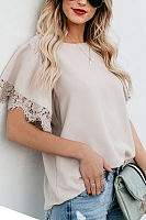 Round Neck  Lace Plain  Bell Sleeve T-Shirts
