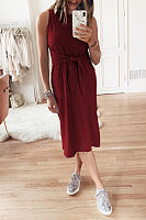 Round Neck  Belt  Plain  Sleeveless Maxi Dresses