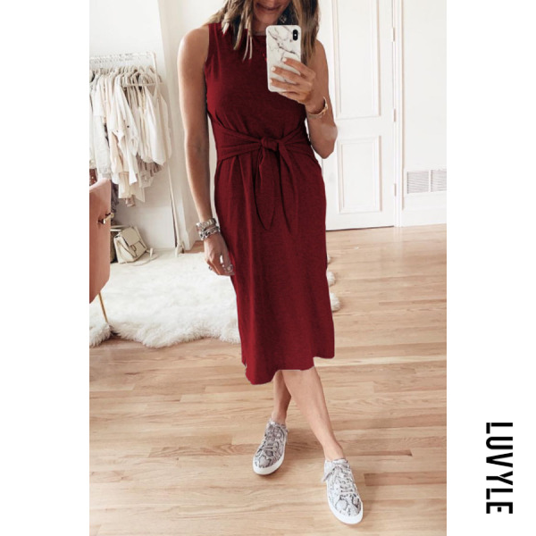 Claret Round Neck Belt Plain Sleeveless Maxi Dresses Claret Round Neck Belt Plain Sleeveless Maxi Dresses