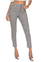 High waist plaid slim slacks