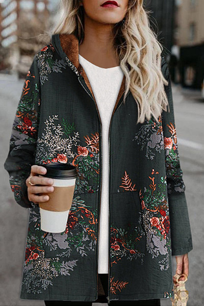 Hooded Long Sleeve Floral Outerwear