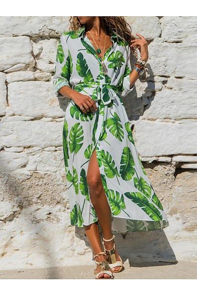 Lapel Leaf Printed Belt Vacation Dresses