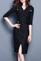 Fold Over Collar  Three Quarter Sleeve Bodycon Dresses
