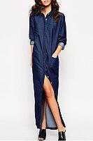 Turn Down Collar  Side Slit Single Breasted  Plain Maxi Dresses