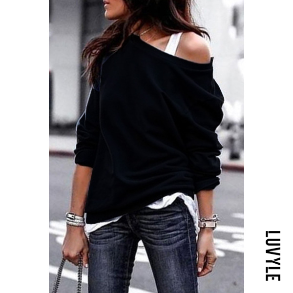 Black One Shouder Casual Soft Long Sleeve T-Shirt Black One Shouder Casual Soft Long Sleeve T-Shirt