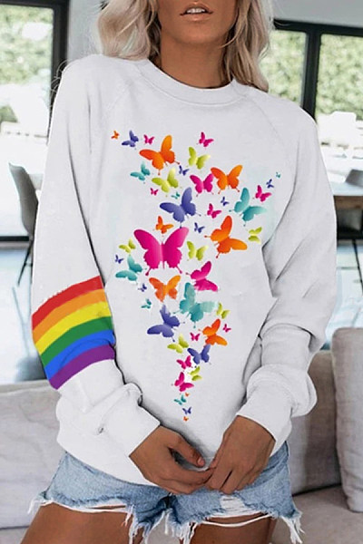 Casual Rainbow Butterfly Long Sleeve Sweatshirt