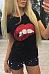 Round Neck  Glitter Lips T-Shirts