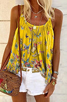 Boho Butterfly Printed Sling Plus Size Loose Tanks