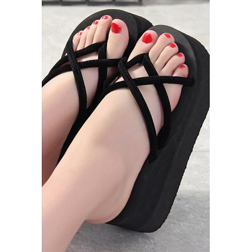 Plain  High Heeled  Peep Toe  Casual Slippers