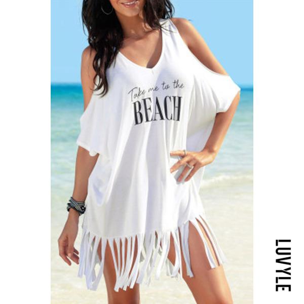 Cold Shoulder Tassels Short Dress Trophy Wife Fashions  Resort Beach Cover Up