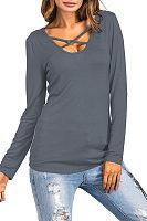 V Neck  Asymmetric Hem  Color Block Floral Printed T-Shirts