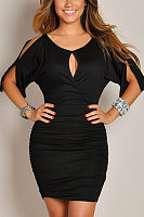 V Neck Cutout Short Sleeve Bodycon Dresses