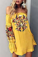 Off Shoulder  Ruffle Trim  Embroidery  Long Sleeve Casual Dresses