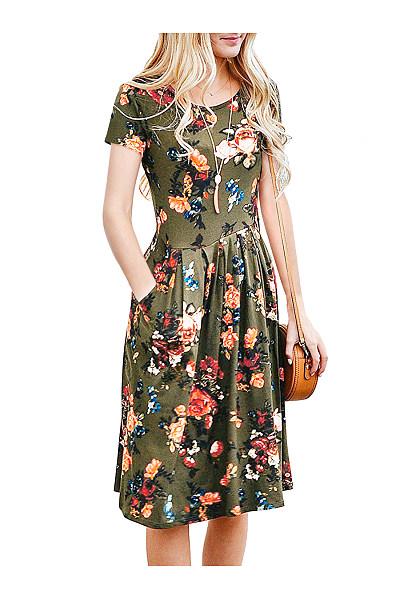 Round Neck Pocket  Floral Printed Skater Dress